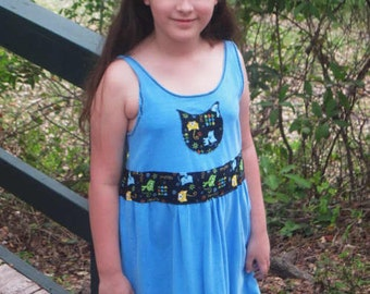 SALE! REDUCED for inventory clearance  OOAK kitty cats recycled girls blue dress size 10 meow