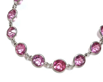 Art Deco  Pink Crystal Rivière Sterling Silver Necklace