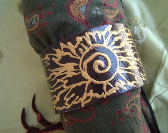 Solar Warrior Hand-Painted Leather Cuff