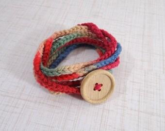 Yarn Wrap Bracelet, Crochet Cotton Yarn Bracelet in Reds Greens Blues and Tans