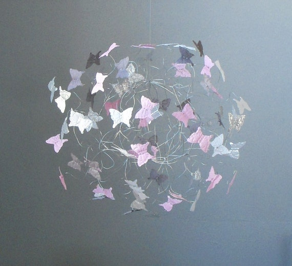 Baby Mobiles, Butterfly Mobile, Nursery Mobiles, Pink, White and Grey Nursery Decor, Baby Girl Mobile
