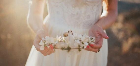 Wedding crown, boho circlet, bridal head piece, ivory flower hair wreath - Lelia's crown - hair accessories
