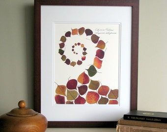 """Pressed leaves print, 11x14 double matted, Chinese Tallow leaves """"Swirl"""", wall decor no. 0052"""