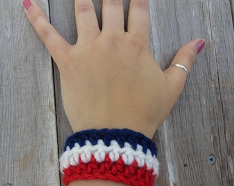 Crochet Bracelet - Red White and Blue, USA, patriotic, summer, super soft,  July 4th (B5)