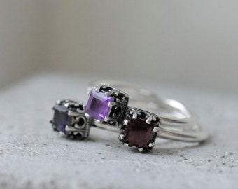 Amethyst ring. Sterling silver ring with square stone. February birthstone. Size 8