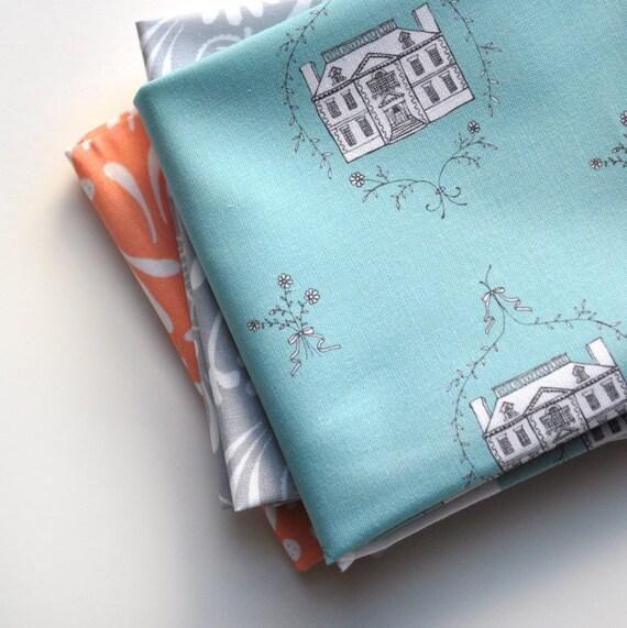 manor house - original fabric - fat quarter - light blue