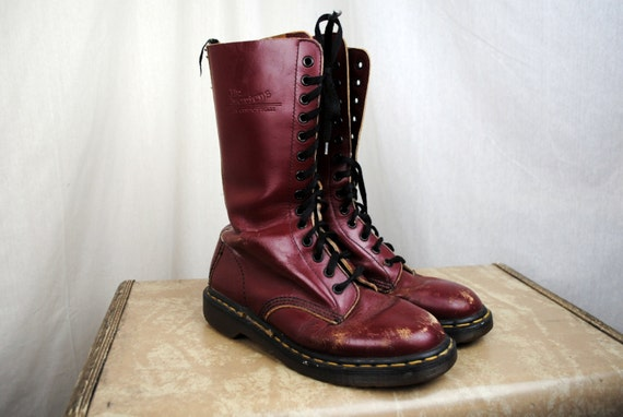 Doc martens tall vintage 90s lace up red leather military grunge boots