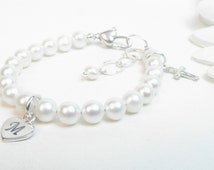 Christening Baptism Baby Girl Bracelet with Freshwater Pearls, Cross Charm, Hand Stamped Initial on Heart Charm