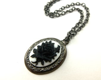 Black Rose Pendant Cameo Necklace Black and White Jewelry Gothic Necklace Victorian Cameo