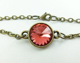Brass Jewelry Dark Peach Crystal Chain Bracelet Modern Peach Jewelry