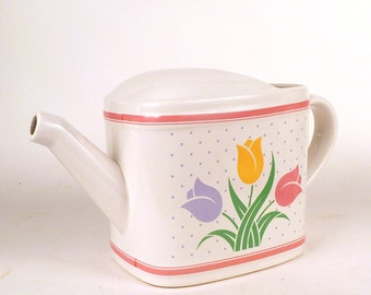 Vintage Teleflora Planter - Pitcher with Tulip Design - Porcelain Garden Floral Vase Home Decor - pink yellow purple green 1986 11 x 5.5 x 4