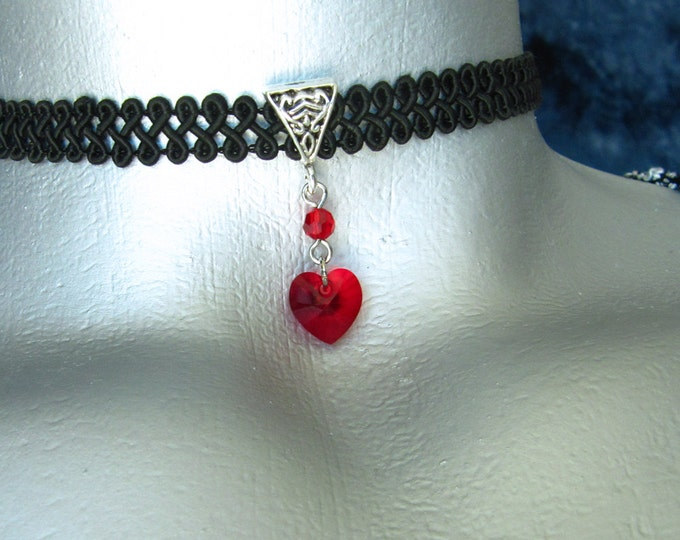 Red Swarovski Crystal Heart Pendant Ribbon Choker Necklace -- Customizable