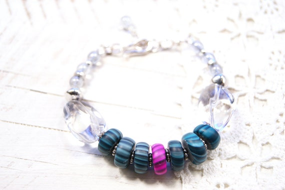 Crystal Modern Art Jewelry Bracelet- Fuchsia and Teal Polymer Clay Gypsy Trade Beads, Pewter and Sterling