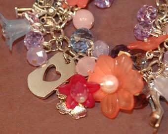 Heart Tag Charm Bracelet , Valentine's Day Charm Bracelet