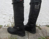 Miss Sixty engraved studded leather riding boot