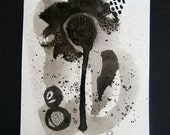 Original Abstract Painting Contemporary Art Black and White Ink Painting 25 by Julie Steiner