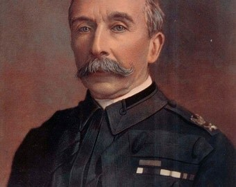 1900, General Chapman, Large Antique Print, Army 128, Military Moustache, Uniform Commander, Frameable Art