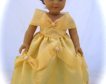 Belle, Beauty and The Beast Princess Dress fits American Girl Dolls and  other 18 inch dolls