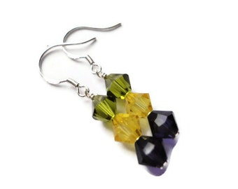 Swarovski Crystal Earrings, Sterling Silver, Wire Wrapped, 6mm, Yellow, Green, Purple, Violet, Contrast, Olivine, Citrine, Nature, Bright