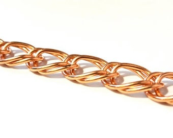 SALE 6 Feet Bright Large Double curb Copper Chain Vintage nos 20mm x 28mm links