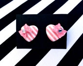 Pinup Sweetie Hearts and Bows Striped Earrings - Pink - Retro - 50s - Rockabilly - Lolita