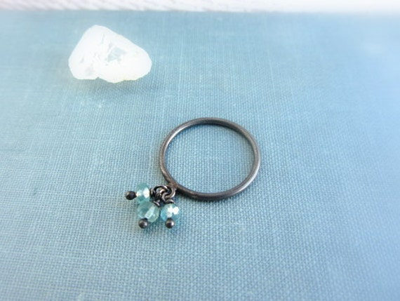 Blue aquamarine stone ring, March Birthstone, tiny sterling silver ring, oxidized silver, birthstone jewelry