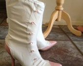 Mary Poppins Jolly Holiday White Spats boot covers pink buttons zipper back