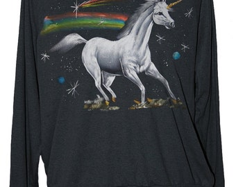 Unicorn shirt women's raglan pullover sweatshirt with rainbow in space jumper off the shoulder -- S M L -- 1 skip n whistle