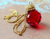 Crystal Ball Necklace, Swarovski Window Suncatcher Prism. 14K GF Gold Necklace Hypnotic Trance Red Hot Sterling Also Available Made to Order