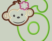 Mod Monkey Girl Applique Design with Number 6