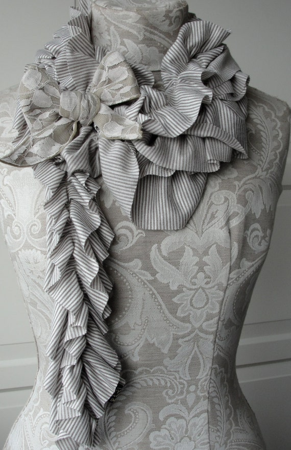 SALE - Mini stripe TEXTURED ruffle scarf with Lace bow brooch by FAIRYTALE13 in stone and white.