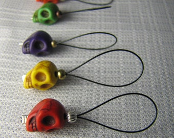 Day of the Dead - Five Snagless Stitch Markers - Fits Up To 9 mm (13 US)