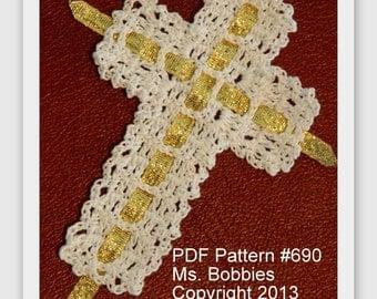 Crochet Cross Bookmark Pattern - Ribbon Cross Bookmark - PDF 690
