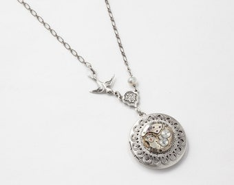 Steampunk Necklace Locket vintage watch movement gears pearl filigree leaf silver bird charm Steampunk jewelry Statement Pendant womens Gift