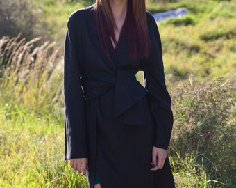 LINEN Wrap Around Dress or Jacket  Made to Measure  Elegant Long Belted Kimono style Timeless Appeal Fashion choice of 3 colors