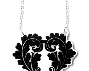 Double Fern Heart Necklace - Valentine's - Natural Pretty Fancy Floral Leaf Design  - Black and White Abstract Pattern