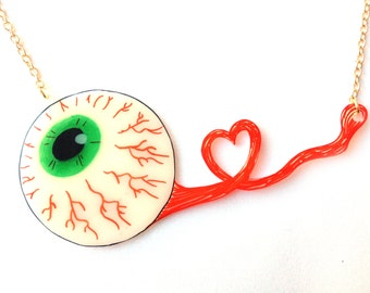 Eyeball Necklace -  Halloween, Spooky Eye, Brown, Blue, Green, Zombie, Bones, Skeletal, X Ray, Anatomical, Optical, Optician