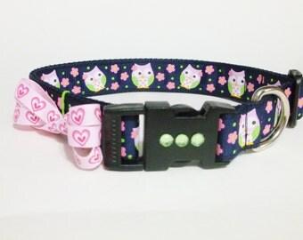 Dog Collar - Pink Owls