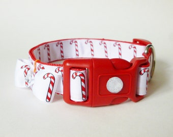 Dog Collar - Christmas CandyCane  M/L