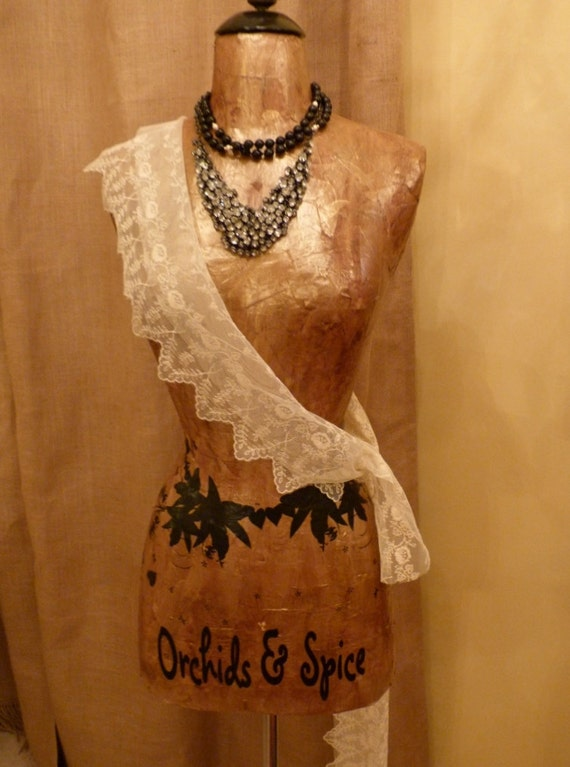 Vintage Inspired Dress Form Mannequin Art Decor OOAK Business Name Custom Free Ship & Layaway