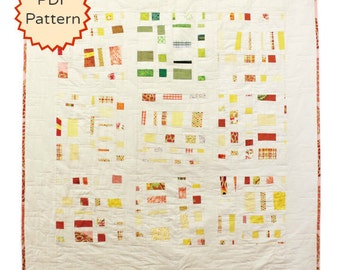 Downloadable Modern Quilt Pattern. Improvisational Confetti Quilt Pattern by Peppermint Pinwheels