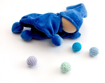 Blue waldorf baby gnomes Toy - Teething waldorf doll for baby boy toys- Rattle - bell in his hat