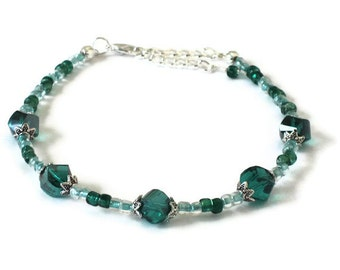 Teal Crystal Anklet, Gifts for Women Wife Mom Daughter Sister Grandma Under 30, Beach Wedding, Mothers Day, Christmas Birthday Gifts