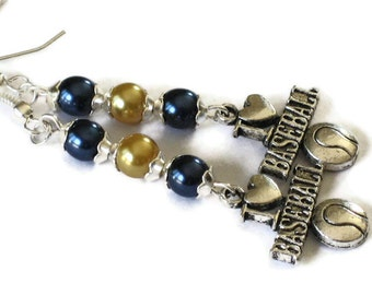 Milwaukee Brewers Inspired Earrings, Blue & Gold Pearl, Gifts for Women Mom Wife Sister Daughter Grandma Teacher Under 25, Stocking Stuffers