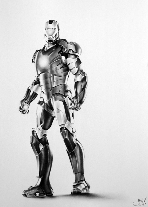 Items Similar To Iron Man Pencil Drawing Fine Art PRINT Hand Signed On Etsy