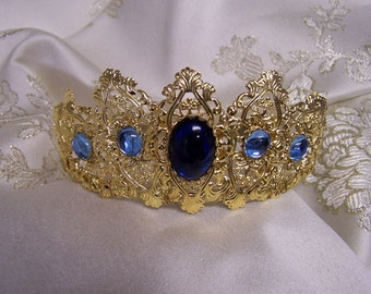 Renaissance medieval crown Aurora Gold Finish Filigree Tiara Tudor Game of Thrones