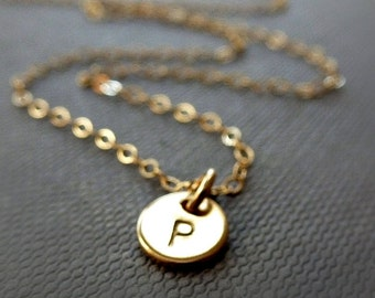 Tiny Initial Disc Necklace - 14K Goldfilled / Choose your Initial