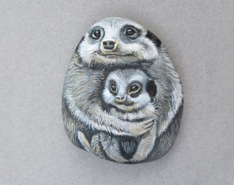 Mother's Day Gift Cute Meerkat Baby and Meerkat Mother Painted Rock Art Painted Stone