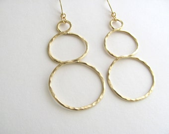 Large geometric circle dangle earrings on 14k gold plate fixtures, matte/satin finish, statement earrings