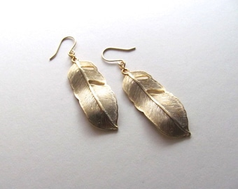 Golden feather pendant earrings, dangle drop